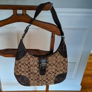 Coach Signature Tan and Brown Leather Hobo Bag